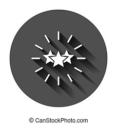 Excellence icon in flat style. Star ribbon vector illustration on black round background with long shadow. Award medal business concept.