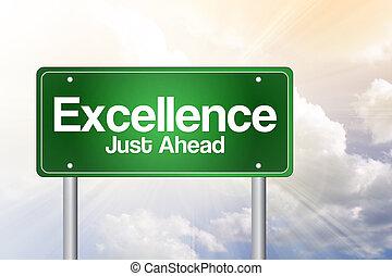 excellence, juste, devant, vert, panneaux signalisations, concept affaires