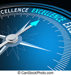 excellence, mot, compas