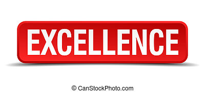 excellence red 3d square button isolated on white background