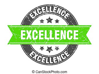 excellence round stamp with green ribbon. excellence