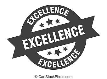 excellence sign. excellence black round ribbon sticker