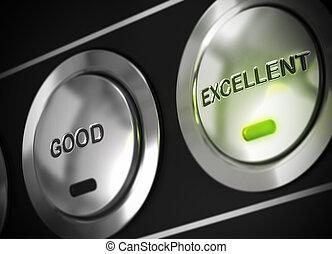 excellence, symbole, excellent, aussi, mené, viewable, feu vert, bon, pressé, bouton, là