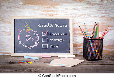 excellent, credit score concept. Chalk board Background with texture