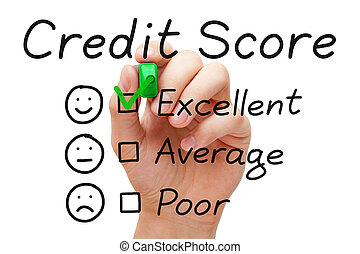 Excellent Credit Score - Hand putting check mark with green...