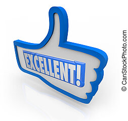 Excellent Feedback Thumbs Up Review Like Approval - The word...