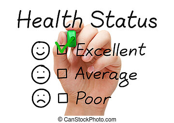 Excellent Health Status Survey - Hand putting check mark...