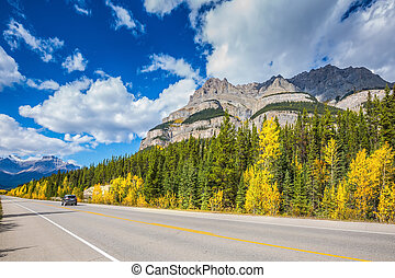 Excellent highway in the Bow River Canyon