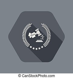 Excellent legal services icon - Flat and isolated vector ...