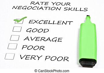 Excellent negociation skills rating and marker pen