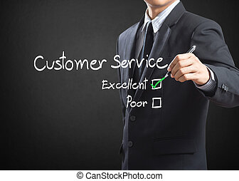 excellent on customer service - Tick placed in excellent...