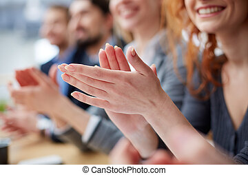 Excellent - Photo of business people hands applauding at...