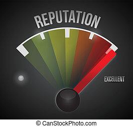 excellent reputation speedometer illustration design over a black background