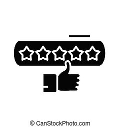 Excellent review black icon, concept illustration, vector flat symbol, glyph sign.