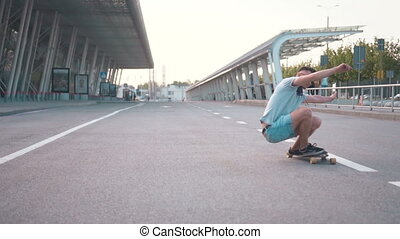 Excellent Ride on Skateboard - Professional skateboarder...