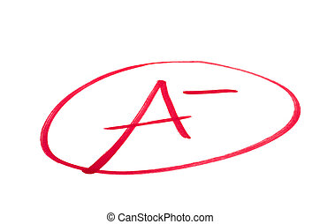 A handwritten grade for an excellent achievementsin red ink. Isolated on white.