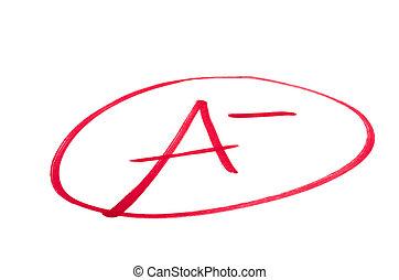 Excellent School Exam Grade A- (minus) - A handwritten grade...