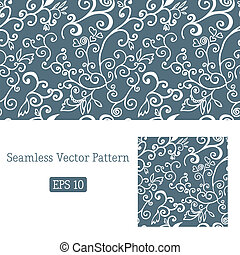 Excellent seamless floral pattern white and blue