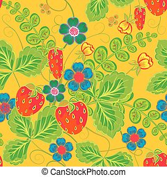 Excellent seamless pattern with hand drawing orange red strawberry, blue flowers and green leaves on yellow background