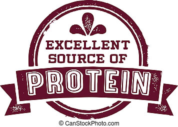 Vintage style vector product stamp. Excellent source of protein.
