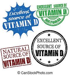 Set of excellent source of vitamin D grunge rubber stamps, vector illustration