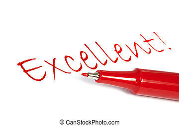 "Excellent - Red felt pen with the word ""excellent\"" written..."