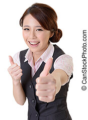 excellent - Asian business woman give you excellent gesture,...