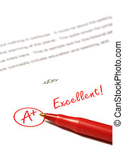 Excellent - A paper is graded A Plus, Excellent, with red...