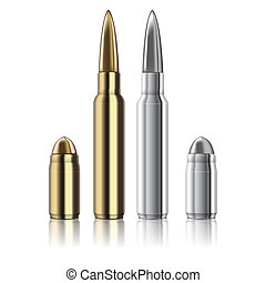 Vector Rifle and pistol bullets isolated on white -...