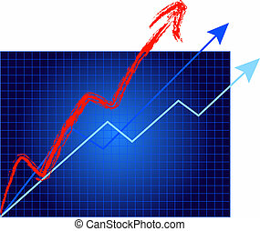 A graph depicting rapid growth & increase.