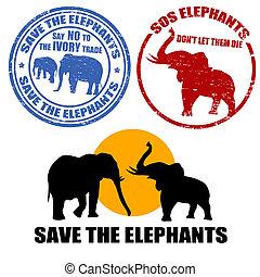 excepto, el, elefantes, sellos