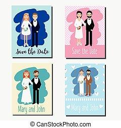 excepto, el, fecha, tarjetas, invitaciones boda, plantillas de diseño, con, parejas felices