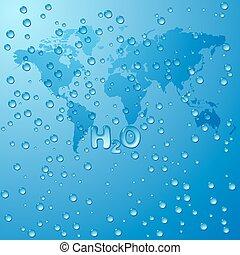 excepto, mundo, agua, concepto, vector, plano de fondo