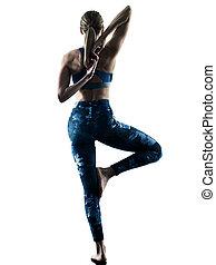 excercises, femme allonger, silhouette, fitness