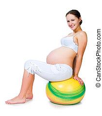 excercises, mujer, pelota, gimnástico, embarazada