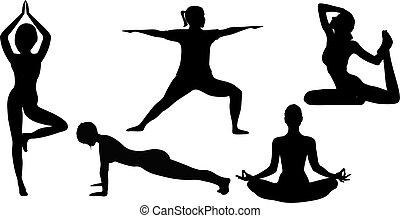 excercises, silhouette, yoga, donne