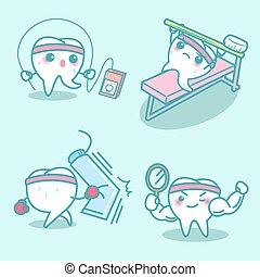 excerise, かわいい, スポーツ, 歯