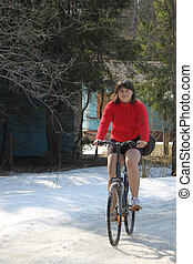 excess weight girl on the bicycle (obesity teenager)