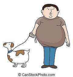 excesso de peso, cão, homem