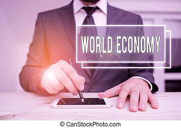 exchange., 世界, テキスト, economy., 世界的な貿易, 概念, 執筆, 市場, 意味, 手書き, 世界的に, お金, インターナショナル