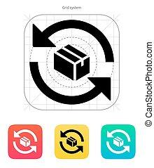 Exchange box icon.