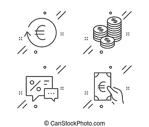 Exchange currency, Coins and Discounts icons set. Finance sign. Reshresh exchange rate, Cash money, Best offer. Vector