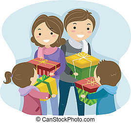 Exchange Gifts - Illustration of a Family Exchanging...