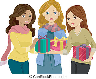 Exchange Gifts - Illustration of Girls in Winter Clothes...