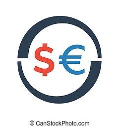 Exchange icon on white background.