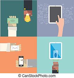 Exchange idea conceptual 4 part collection drawing illustration