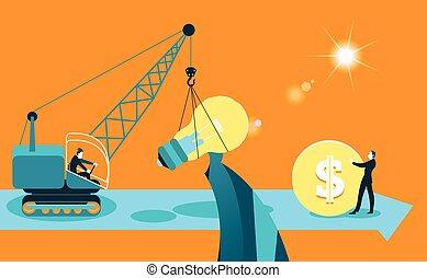 Exchange ideas on money. Business metaphor