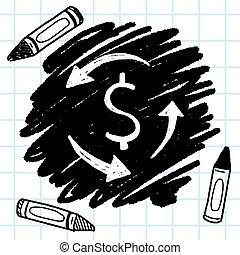 exchange money doodle