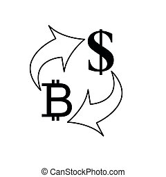 Exchange money icon. Exchange of BITCOIN and dollar currency. euro icon. Yen  dollar . vector