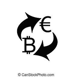 Exchange money icon. Exchange of euro and bitcoin currency. euro icon. Yen  bitcoin . vector